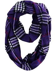Unisex Women's Stylish Plaids & Check Cashmere Winter Infinity Cowl Scarf