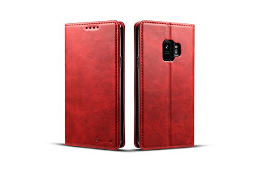 Samsung Galaxy S9 Wallet Cover, TACOO Genuine Leather 360 Protection Card Holder Kickstand Magnetic Protective Case for Samsung Galaxy S9 2018-Red (Hello Kitty Neo Phone)