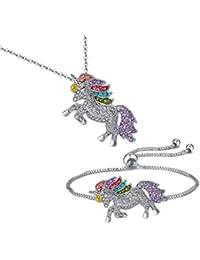 Unicorn Necklace - 2 Pack Rainbow Unicorn Necklace...