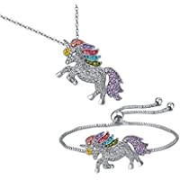 TikTok Direct Unicorn Necklace - 2 Pack Rainbow Unicorn Necklace Bracelet Set for Girls Best Friend Necklace Bracelet (Unicorn Gift Set)