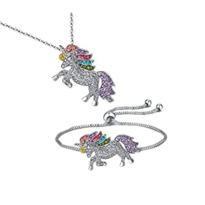 TikTok Direct Unicorn Necklace – 2 or 4 Pack Rainbow Unicorn Necklace Bracelet Set for Girls Jewelry Unicorn Gifts Set