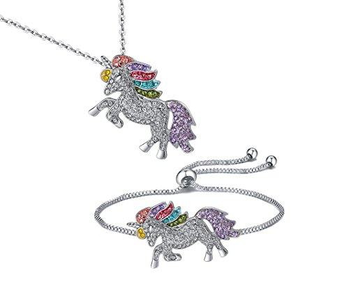 (TikTok Direct Unicorn Necklace - 2 Pack Rainbow Unicorn Necklace Bracelet Set for Girls (Unicorn Gift)