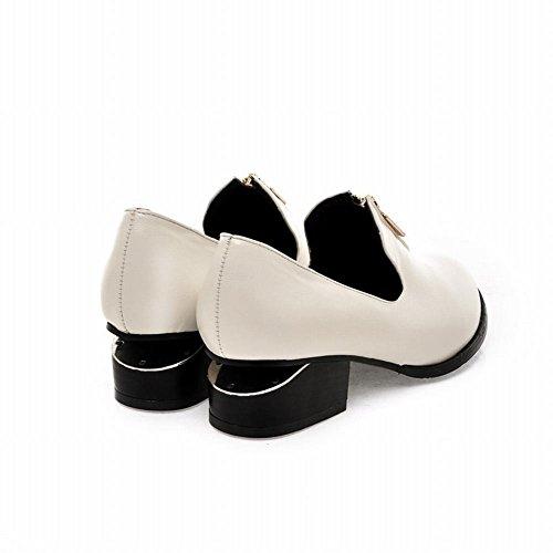 Carolbar Dames Britse Stijl Pu Mode Retro Vintage Zip Mid Heel Casual Schoenen Wit