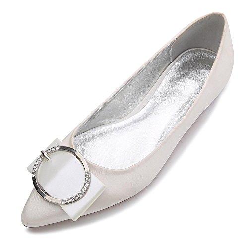 L@YC Zapatos de boda E-5047-27 de la boda Punta plana Bomba básica Elástico Satén Metal Cerrado Toe Custom Made Zapatos de gran tamaño Ivory