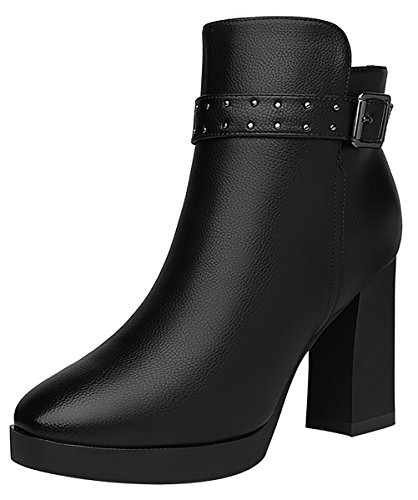 T&Mates Womens Trendy Short Fur Lining Buckle Strap Block Chunky Platform PU Ankle Booties (5.5 (Doc Holiday Costume For Sale)