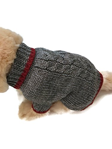 Le Petit Chien Small Dog Puppy Cable Knit Sweater (Small, (Knit Dog Sweater Clothes)