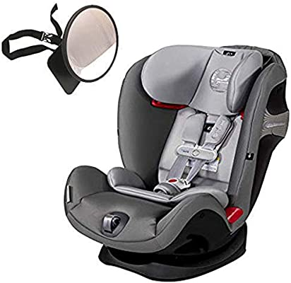 Cybex Eternis S All-in-One Car Seat with SensorSafe, Manhattan Grey with Back Seat Mirror Bundle