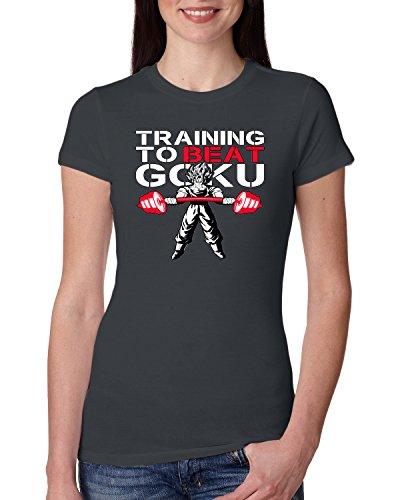 Training to Beat Goku | Womens Pop Culture Junior Fit Tee, Dark Grey, Medium (Sleeve Womens Training T-shirt Cap)