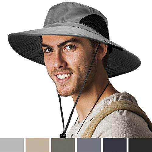 SUN CUBE Premium Boonie Hat | Wide Brim Adjustable Chin Strap | Outdoor Fishing, Hiking, Safari, Summer Bucket Hat | UPF 50+ Sun Protection | Packable Breathable Men, Women Mesh Hat (Gray)
