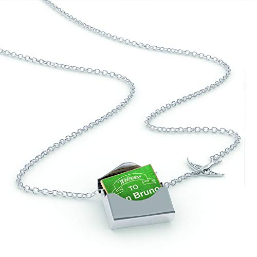 NEONBLOND Locket Necklace Green Sign Welcome to San Bruno in a Silver ()