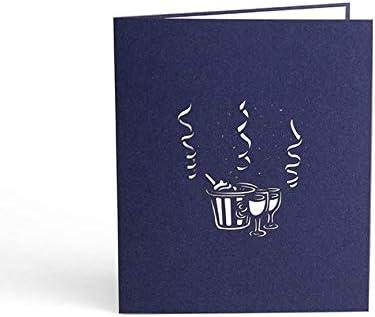 VCB Carte de voeux 3D cr/éative de Tasse de vin Invitation de Carte Postale de Papier de Festival Multicolore