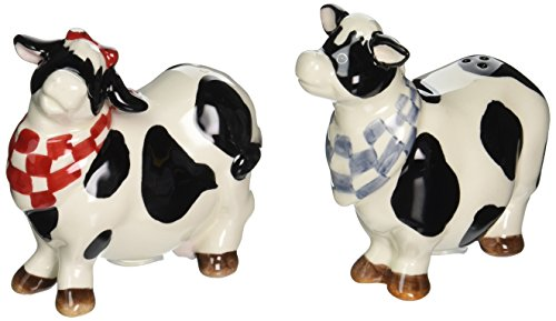 Appletree Design Barn Yard Cow Salt and Pepper Set, 3-1/4-Inch, 3-1/2-Inch (Cookie Jars Cow)