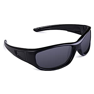RIVBOS Rubber Flexible Kids Polarized Sunglasses Glasses for Baby and Children Age 3-10 (Mirrored Lens Available) RBK037(Black&Black,Black Polarized Lens)