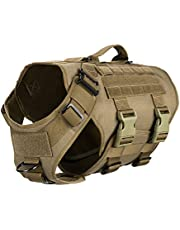 ICEFANG Tactical K9 Operation Harness,6X Buckle,Working Dog MOLLE Vest with Handle,3/4 Body Coverage,Hook and Loop Panel for ID Patch,No Pulling Front Clip