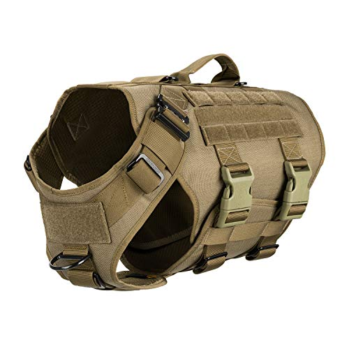 ICEFANG Tactical K9 Operation Harness,Working Dog MOLLE Vest,Hook and Loop Panel for ID Military Morale Badge Patch,Bar-tacked Reinforced Handle,No Pulling Front Clip (L (28'-35' Girth), Coyote Brown)