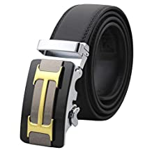 Mens Genuine Leather Belts Automatic Buckle H Belts Black Waist Strap