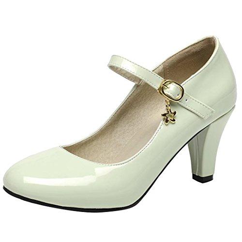 AIYOUMEI Damen Lack High Heels Pumps mit 7cm Asbatz Mary Janes Damenschuhe Hochzeit Pumps Grün