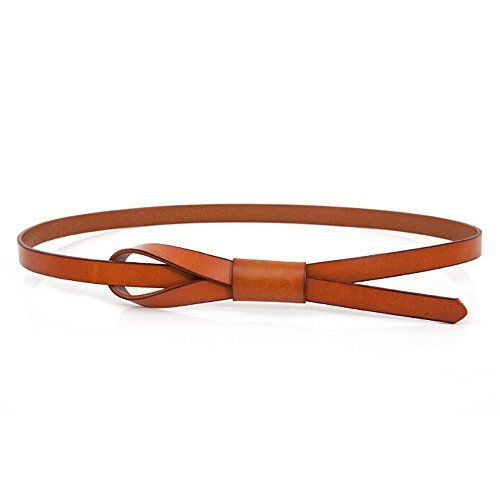 LOHOME Waist Belt, Ladies Women Fashion Simple Vegetable Tanned Leather Adjustable Elastic Waist Belt Skinny Belt Girls Jeans Belt (Light Tan)