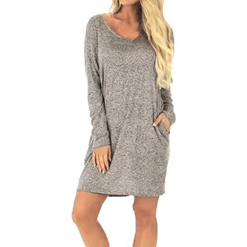 kaifongfu Women Dress, Casual Solid Backless Pocket Long Sleeve Loose Above-Knee Dress For Ladies (M, Gray)
