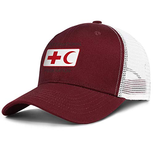 Dyed Mens Baseball Caps International Federation of Red Cross and Red Crescent Societies Mesh Trucker Dad Hat (Federation Of Red Cross And Red Crescent Societies)