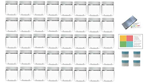 Clear 8 Ounce PET Plastic Jars with White Lids, and 4 Mini Jars and Shrink Wrap, 40 Pack