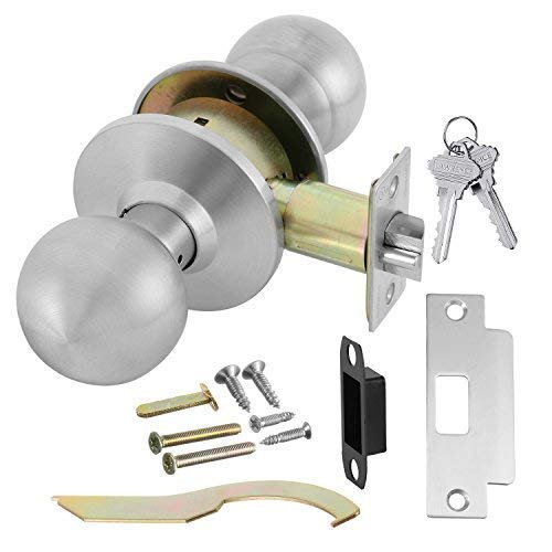 Commercial Grade 2 Keyed Closet Storeroom Door Knob Handle with Cylindrical Lockset, Satin Stainless Steel (US32D), Non-Handed, by Lawrence Hardware