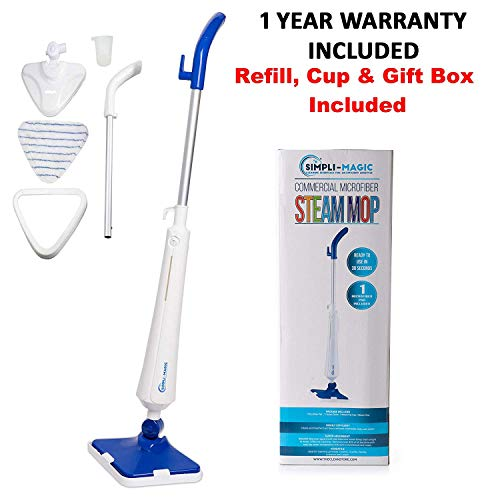 (Simpli-Magic 79153 5 in 1 Steam Mop Floor Steamer - Ideal for Cleaning Tile Grout Laminate Hardwood and Carpets, Professional Use)