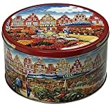 "SCANDINAVIAN GINGER SNAPS with Apple & Almonds Cookies in Large Reusable Tin ""The Flower Market"" NT WT 2.5 lbs (1.135 Kg)"
