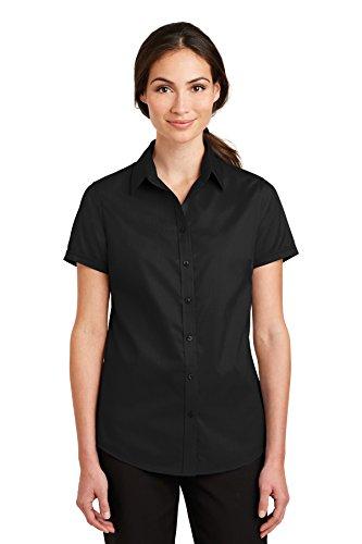 Port Authority Ladies Short Sleeve SuperPro Twill Shirt, Black, XXX-Large ()