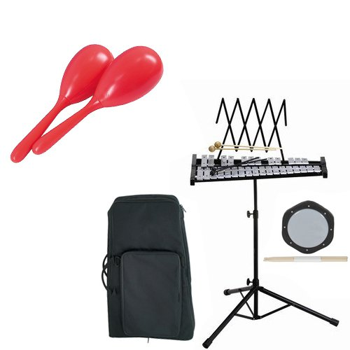 Band Directors Choice Educational Bell Kit Pack Deluxe w/Carry Bag, Drum Practice Pad & Sticks & Bonus Rhythm Maracas by Bell Kit Educational Packs