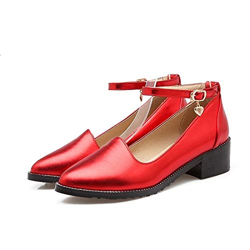 Gold Heel Coffee Fall Shoes Women's Chunky ZHZNVX Red PU Silver Basic Polyurethane Heels Pump BzOBRaqvS