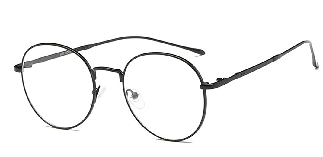 Metall Frame Retro Glasrahmen-Ebenenspiegel Dekobrille Klassisches Rund Rahmen Glasses Klare Linse Brille