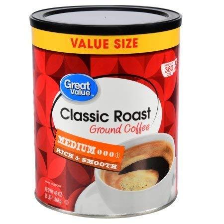Great Value 48 oz Medium Roasted Classic Roast Ground Coffee (1)