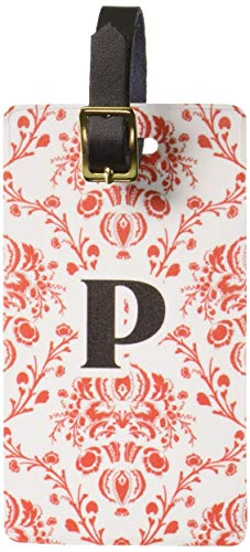 Graphics & More Letter P Initial Damask Elegant Red Black Luggage Tags Id, White