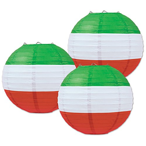 Beistle Paper Lanterns, 9 1/2-Inch, Red/White/Green (Value 2-Pack)