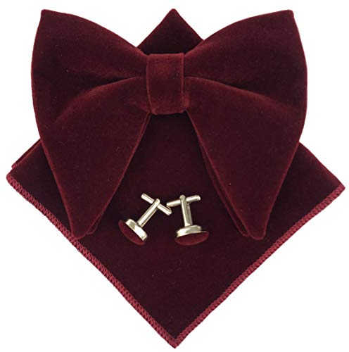 (Men's Oversized Pre-Tied Bow Tie Tuxedo Burgundy Velvet Bowtie Cufflinks Hankie Combo)