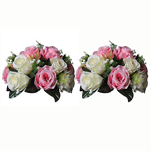 Sfeexun Pcs of 2 Fake Flower Ball Arrangement Bouquet,15 Heads Plastic Roses with Base, Suitable for Our Store's Wedding Centerpiece Flower Rack for Parties Valentine's Day Home Décor (Pink & White )