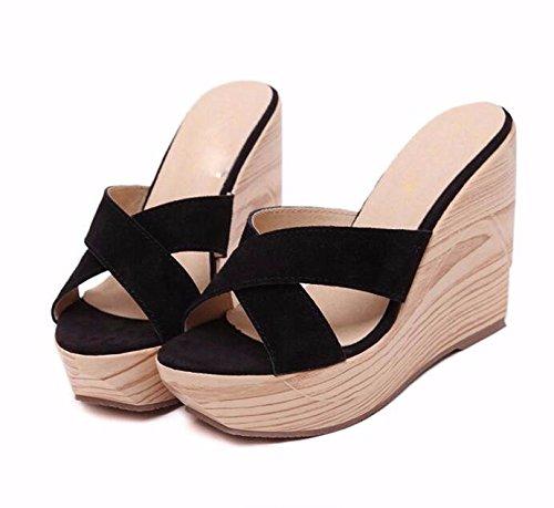 tallone 37 GTVERNH black spesso china pelle piattaforma un piattaforma trascinando pantofole china inferiore po tallone a 'di pantofole wPf1wqT