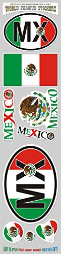 Car Chrome Decals STS-MX Mexico 9 stickers set flag Mexican decal bumper stiker car auto bike laptop