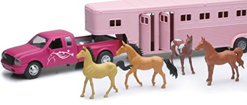New Ray Die Cast 1:32 Kids Pink Pick up Explorer with Fifth Wheel, Includes Pickup, Trailer, Cowgirl Figure, Cowboy Figure and 6 Horses, Great Gift For Kids