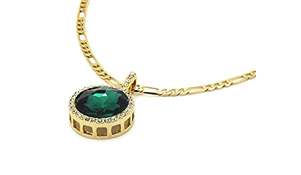 L /& L Nation Mens Gold Tone Green Round Ruby Pendant with 3mm 24 Figaro Chain Necklace