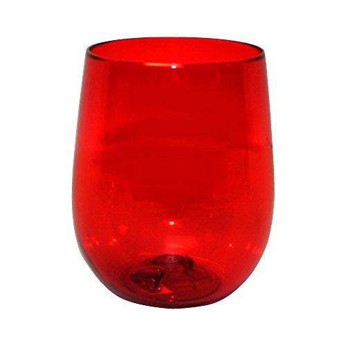 Barware 12oz Plastic Stemless Wine Glass, set of 12, Shatterproof Tumbler, Translucent Red