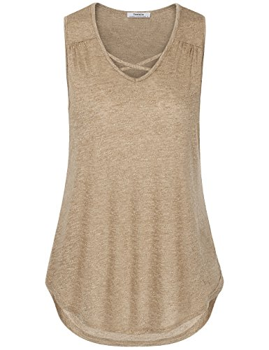 Youtalia Casual Tank Tops for Women, Summer Sleeveless Ruched Detail Curved Hem Knit Blouse Shirt(X-Large,Dark Beige) ()