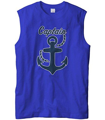 Captain America Cheap Ship - Cybertela Men's Father's Day Gift Captain Anchor Sleeveless T-Shirt (Royal, X-Large)