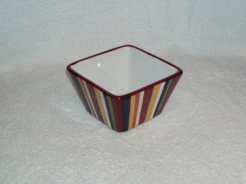 Pampered Chef Simple Additions Small Square Striped Bowl