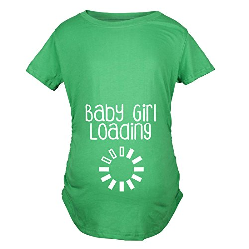 Crazy Dog TShirts - Maternity Baby Girl Loading Funny Pregnancy Announcement Baby Bump T shirt (Green) L - damen - L