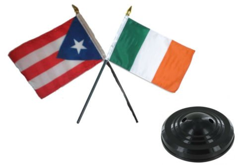 Moon Puerto Rico w/Ireland Irish Flag 4''x6'' Desk Set Table