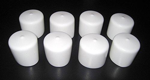8pk - 1 1/2'' Round White Vinyl End Cap 1.5'' Rubber Pipe Cover Post Tube Dock PVC