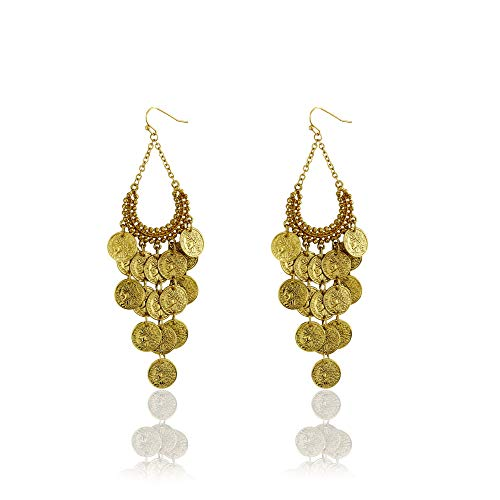 Special Coins Relief Earrings Golden Indian Icon Embossed Vintage Cluster Tribal Beach Style Dangle Earrings by Dokreil