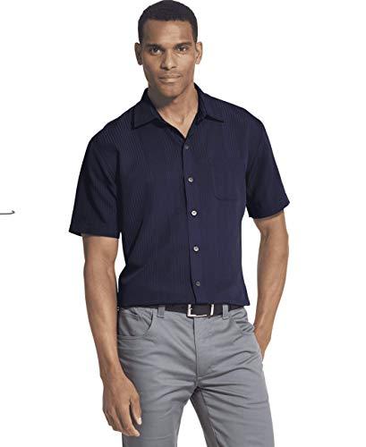 (Van Heusen Men's Air Stripe Short Sleeve Button Down Shirt, Faded Cadet Medium)